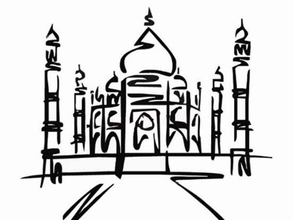 Taj Mahal Outline Coloring Page