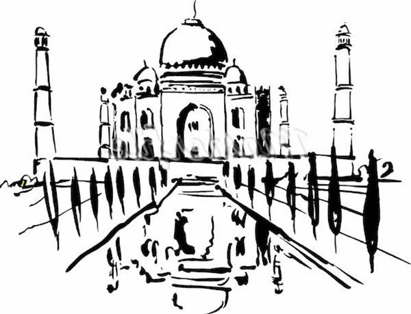 Taj mahal post card coloring page netart for Taj mahal coloring page