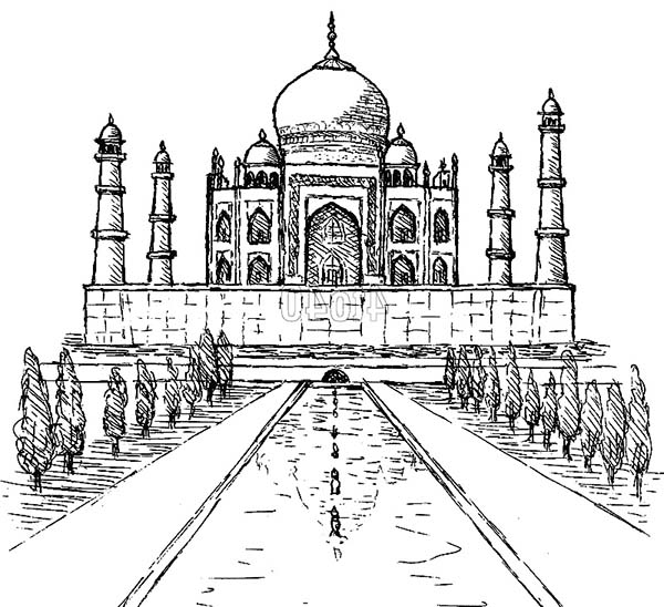 Taj Mahal in Agra India Coloring Page - NetArt