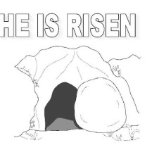 The Tomb Where Jesus Rise in Jesus Resurrection Coloring Page