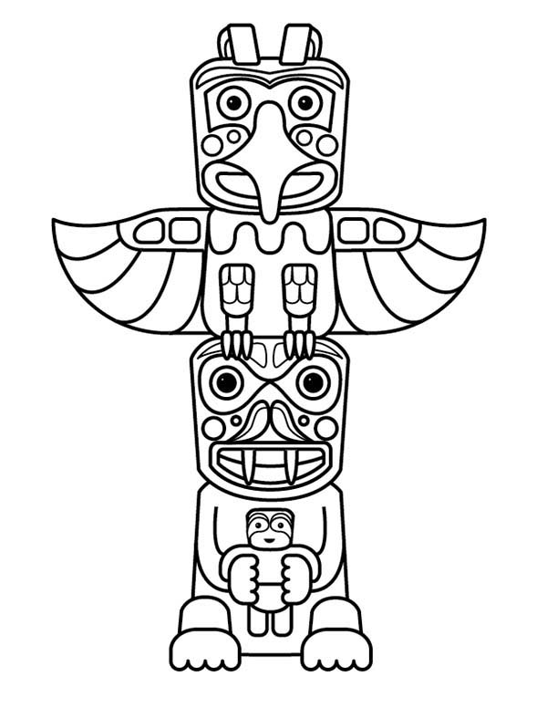 Totem Poles Sculptures Coloring Page NetArt