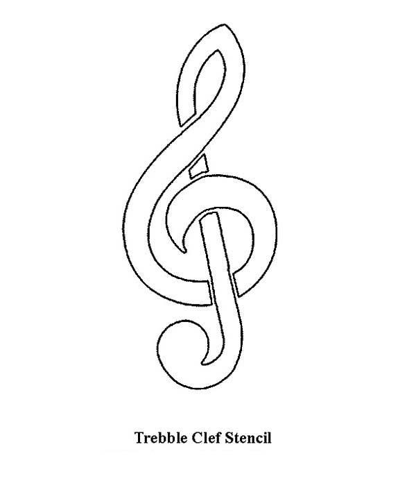 Treble Clef Stencil Coloring Page Netart Treble Clef Coloring Page