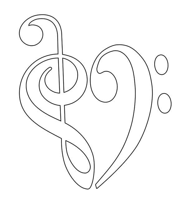 treble clef and bass forming heart coloring page - Heart Coloring Page
