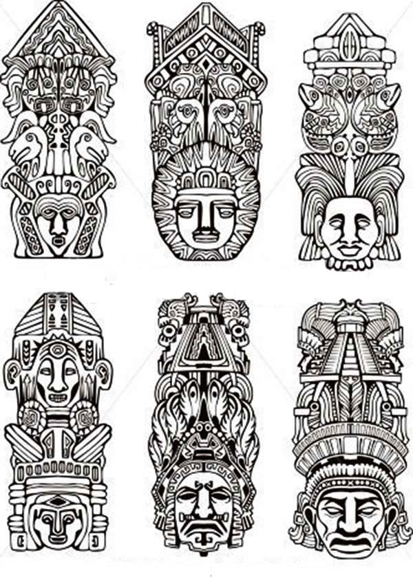 Indian Tribal Coloring Pages. Various Indian Tribe Totem Poles Coloring Page  NetArt