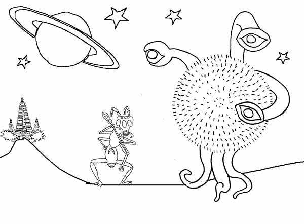 Alien Come From Saturn Coloring Page Netart Saturn Coloring Page