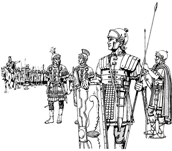 ancient roman coloring pages | An Ancient Rome Army in the Battlefield Coloring Page - NetArt