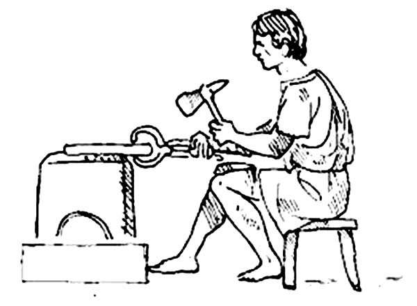 ancient rome coloring pages - an ancient rome craftman making a weapon coloring page