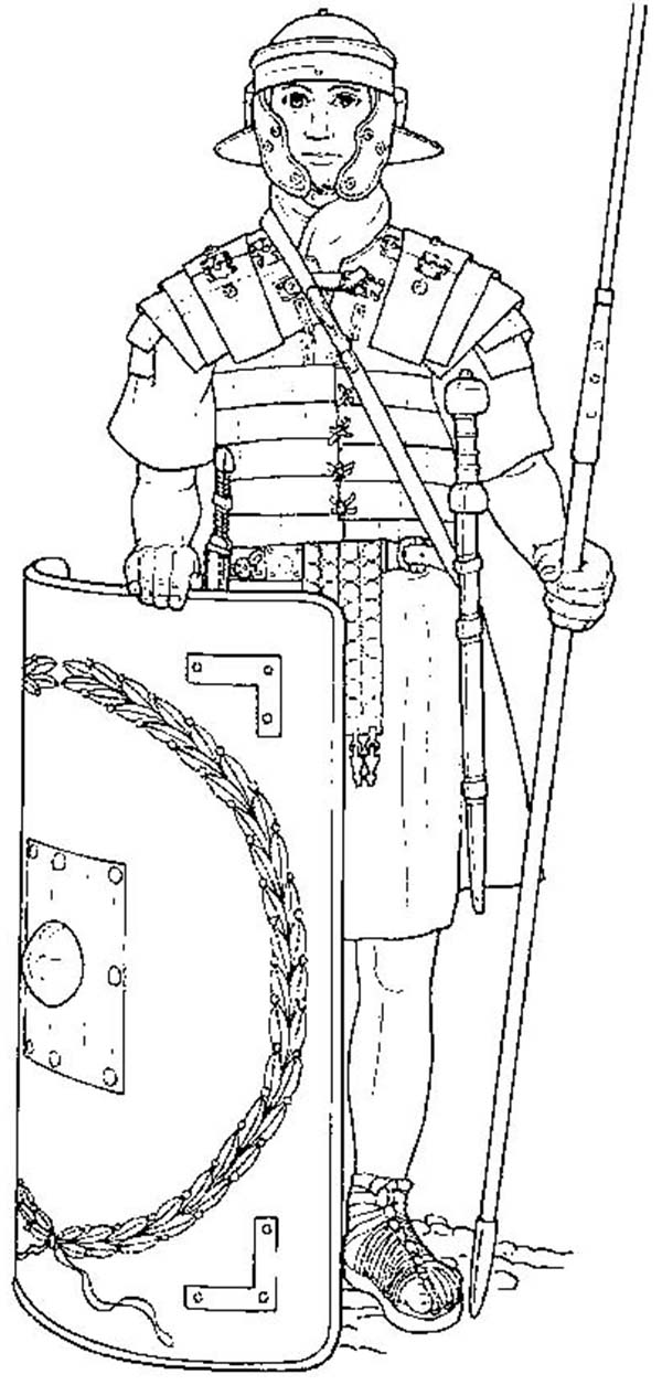 an elite roman soldier and his equipments coloring page - Soldier Coloring Pages