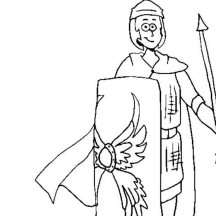Cartoon Drawing of Ancient Rome Soldier Coloring Page