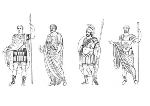 ancient roman coloring pages | Different Clothes of Ancient Rome Figures Coloring Page ...