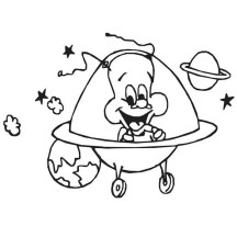 Happy Alien Want to Visit Earth Coloring Page