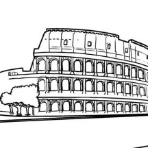 The Colosseum, the Biggest Amphitheater from Anciet Rome Coloring Page