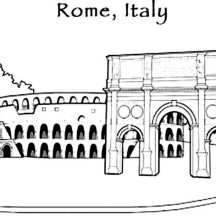 The Remains of Colosseum from Ancient Rome Coloring Page