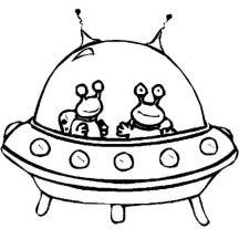Twin Alien in Spaceship Coloring Page