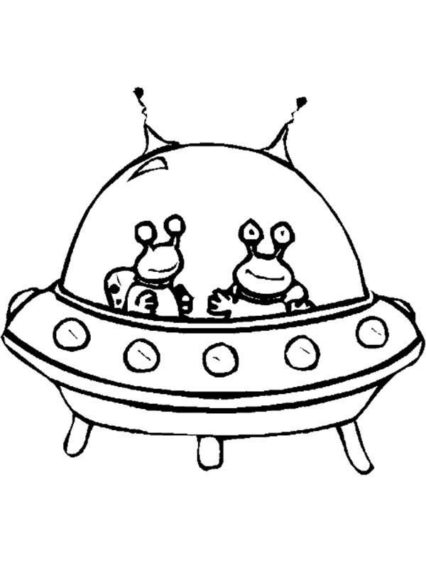 Twin Alien in Spaceship Coloring Page - NetArt