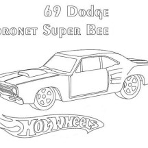 69 Dodge Hot Wheels Coronet Super Bee Coloring Page