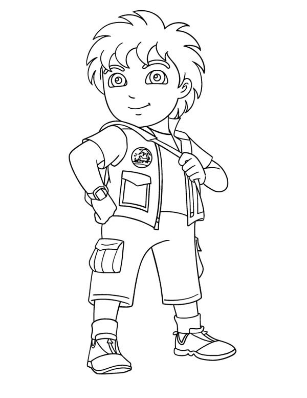 8 Years Old Latino Boy in Go Diego Go Coloring Page