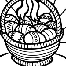 A Bucket of Easter Eggs Coloring Page