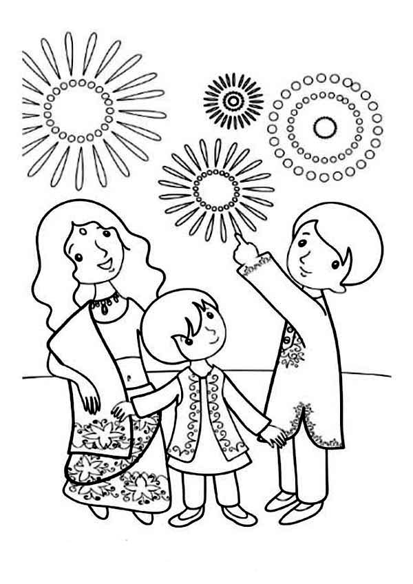 A Family Celebrate Diwali Coloring Page NetArt