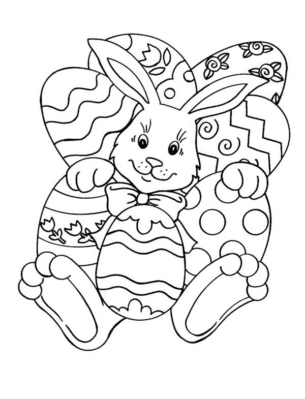 A Rabbit and a Lot of Easter Eggs Coloring Page