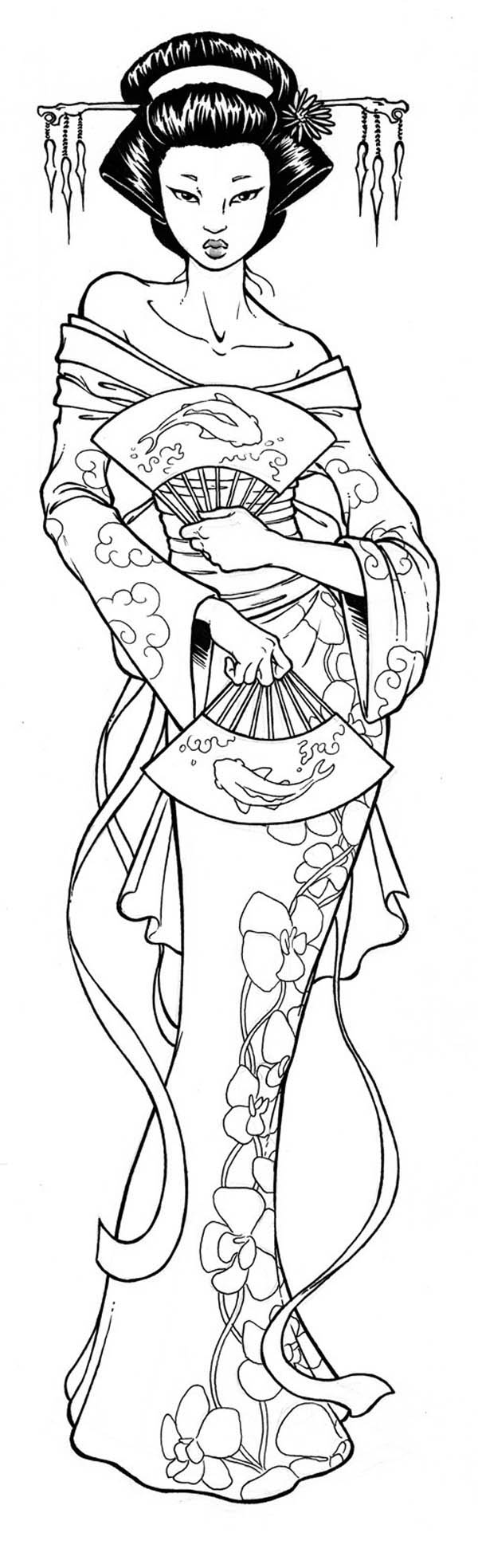 amazing picture of geisha coloring page netart