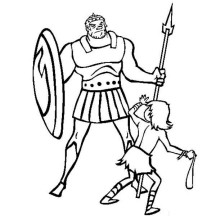 An Unmatched Duel Between David versus Goliath in the Bible Heroes Coloring Page Coloring Page