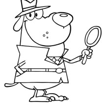 Awesome Detective Dog Coloring Page