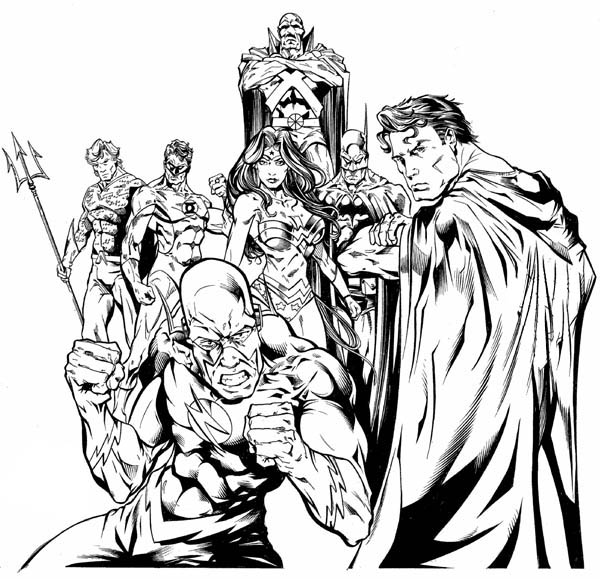 Awesome Drawing of Justice League Coloring Page - NetArt