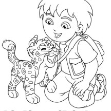 Baby Jaguar Love Diego in Go Diego Go Coloring Page