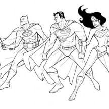 Batman Superman and Wonder Woman in Justice League Coloring Page