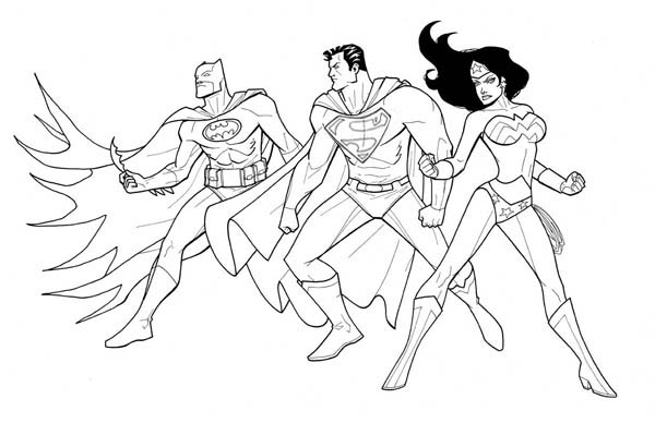 Batman Superman and Wonder Woman in Justice League Coloring Page ...