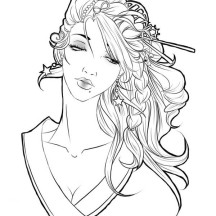 Beautiful Geisha Coloring Page