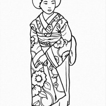 Beautiful Geisha Wearing Kimono Coloring Page