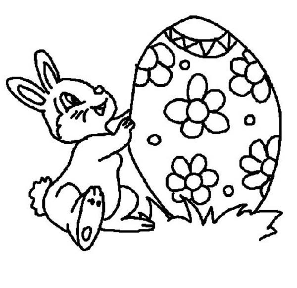 Big Easter Egg for Little Rabbit Coloring Page