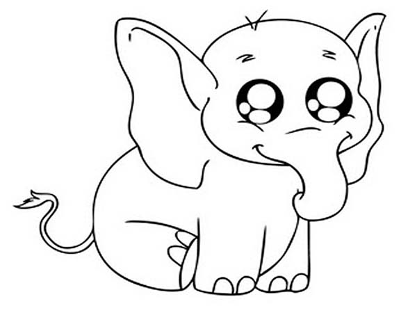 Large Coloring Pages Big Eyed Elephant Coloring Page  Netart