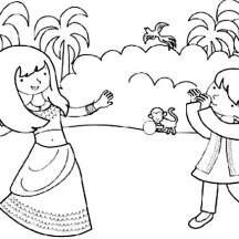 Brother and Sister Celebrate Diwali Coloring Page