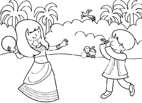 Brother and Sister Celebrate Diwali Coloring Page NetArt