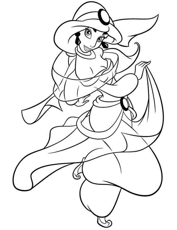 Cartoon Princess Jasmine Coloring Page