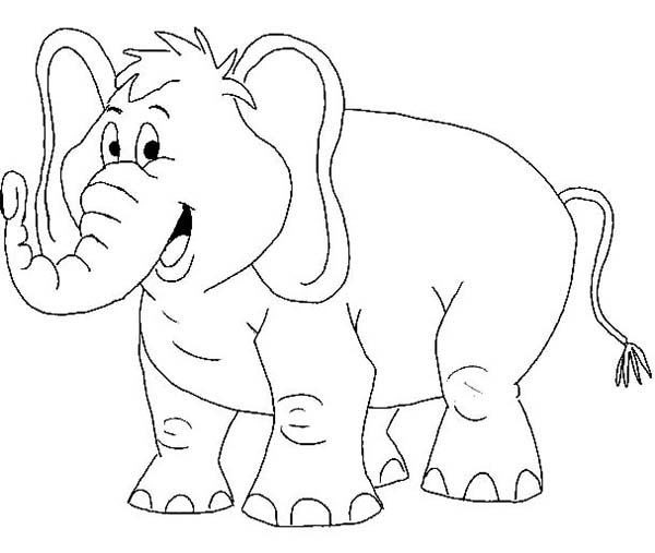 Cartoon Of African Elephant Coloring Page