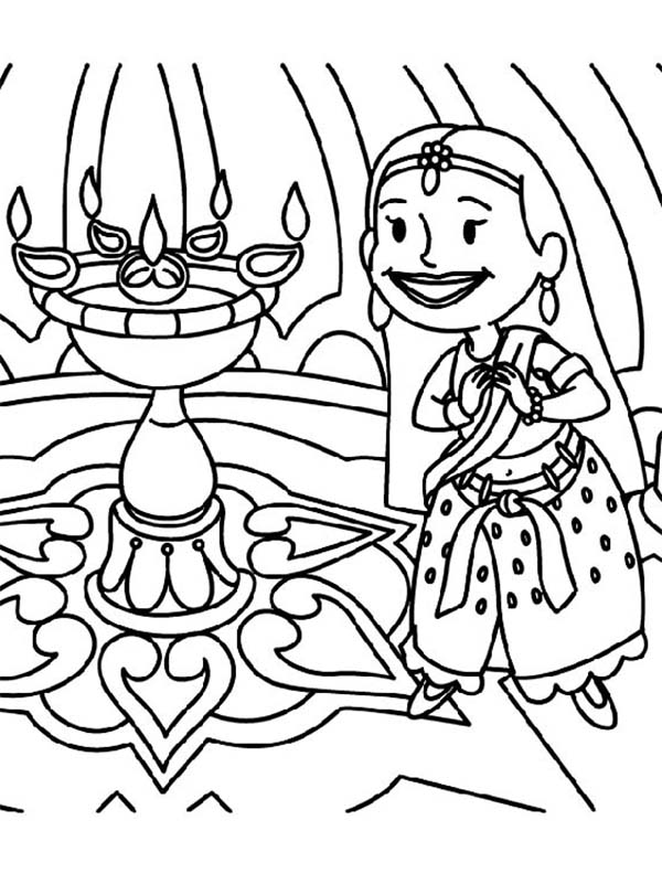 Divali free colouring pages for Free diwali coloring pages