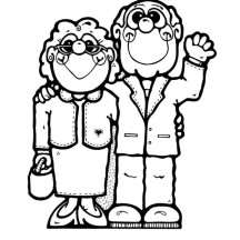 Cartoon of Grandparent on Gran Parents Day Coloring Page
