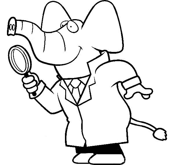 Cartoon Of A Elephant Detective Using A Magnifying Glass