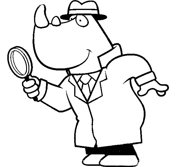 Cartoon Of A Rhino Detective Using Magnifying Glass Coloring Page