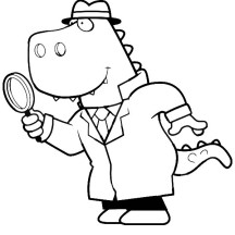 Cartoon of a T Rex Detective Using a Magnifying Glass Coloring Page