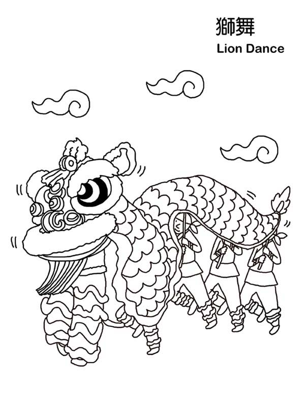 Chinese New Year Lion Dance In Symbols Coloring Page