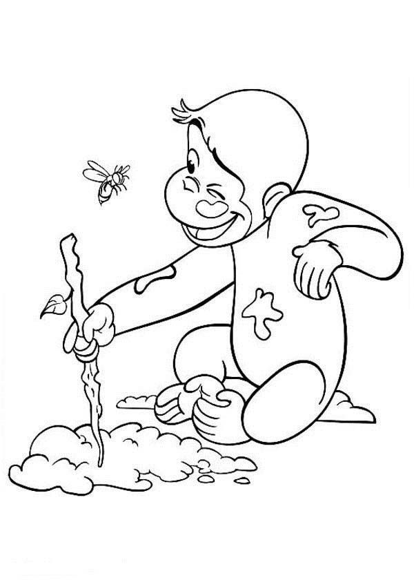 Curious George Drawing on Sand Coloring Page