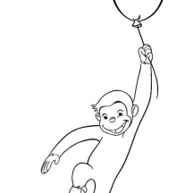 Curious George Fly with Balloon Coloring Page