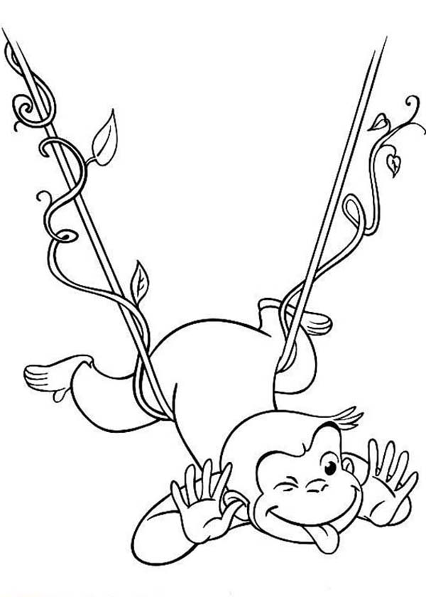 Curious George Hanging on Floating Tree Root Coloring Page - NetArt