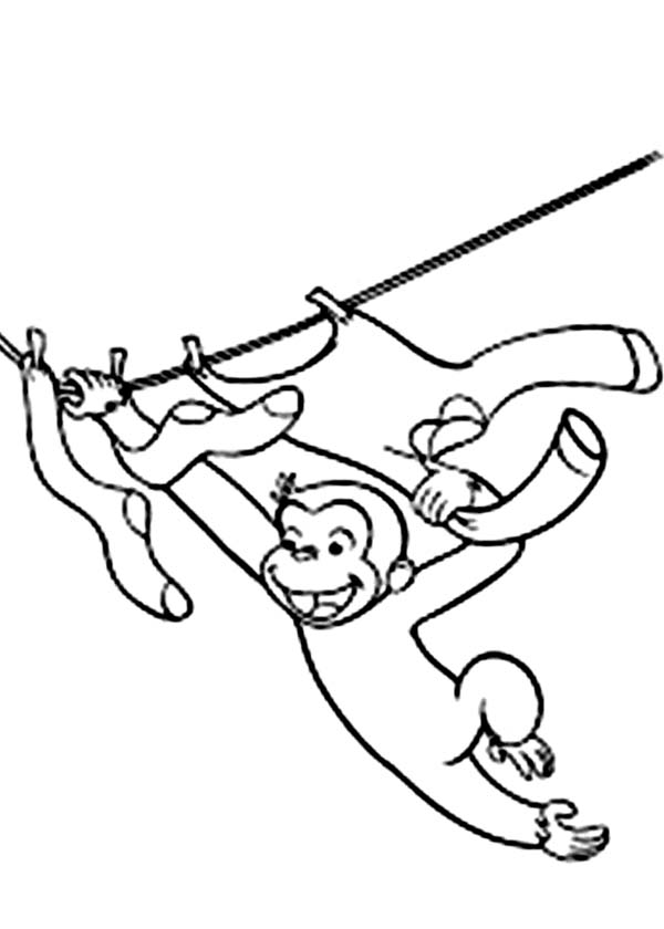 Curious George Hanging on Rope Coloring Page