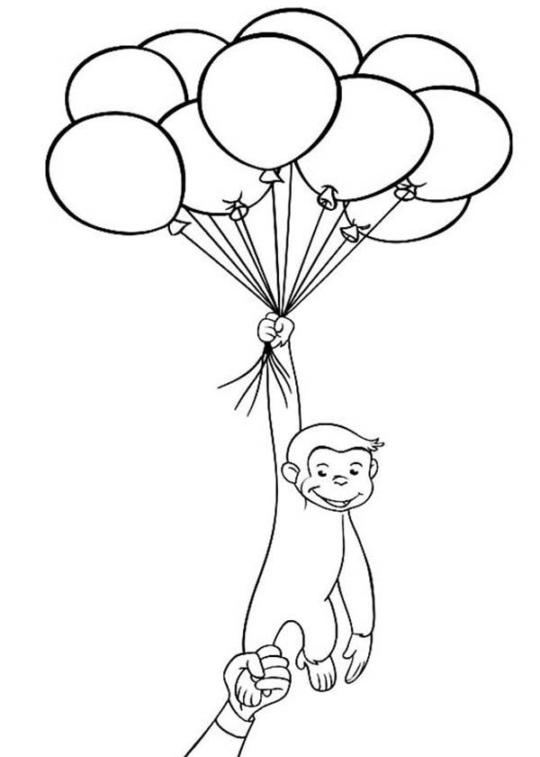 Curious George Holding a Lot of Balloons Coloring Page - NetArt